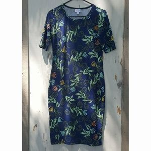 LuLaRoe Julia Blue Floral Dress Size Small #133